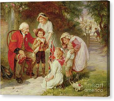 Old Grandfather Time Canvas Print - The Old Soldier by Frederick Morgan