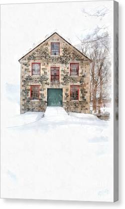 The Old Stone Barn Enfield New Hampshire Canvas Print by Edward Fielding