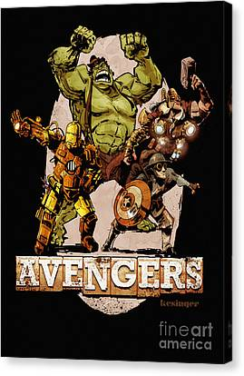 Captain America Canvas Print - The Old Time-y Avengers by Brian Kesinger