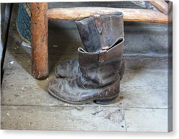 The Old Trapper's Boots Canvas Print