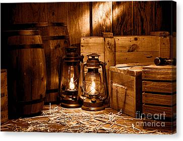 Container Canvas Print - The Old Warehouse - Sepia by Olivier Le Queinec