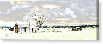 The Old Winter Homestead Canvas Print