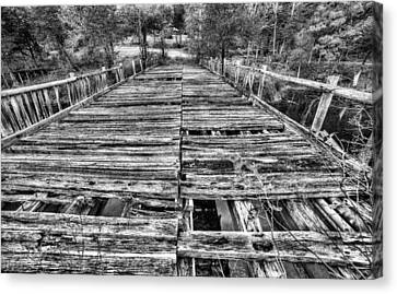 The Old Wooden Bridge In Black And White Canvas Print