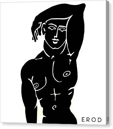 The Olympic Swimmer - Erod Art Canvas Print by Robert R Splashy Art Abstract Paintings