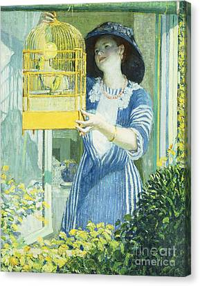 Parakeet Canvas Print - The Open Window by Frederick Carl Frieseke