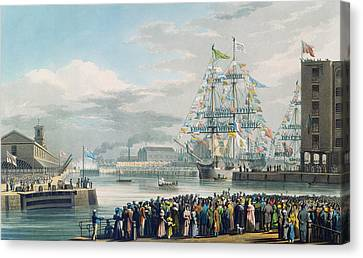 The Opening Of Saint Katharine Docks Canvas Print by Edward Duncan