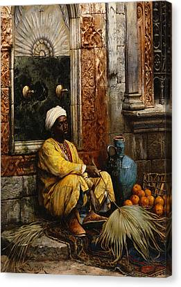 The Orange Seller Canvas Print by Ludwig Deutsch