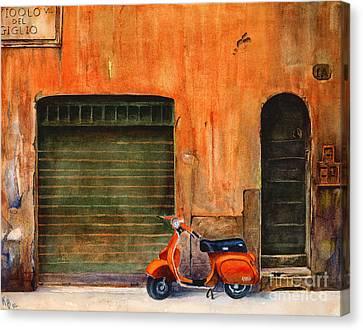 The Orange Vespa Canvas Print