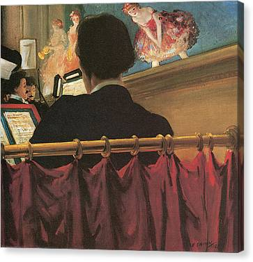 The Orchestra Pit Canvas Print by Everett Shinn