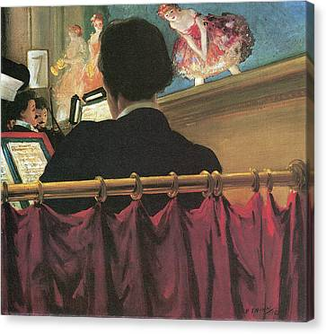 The Orchestra Pit Old Proctors Fifth Avenue Theater Canvas Print by Everett Shinn