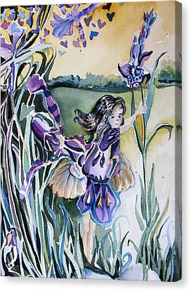 Canvas Print featuring the painting The Orchid Fairy by Mindy Newman