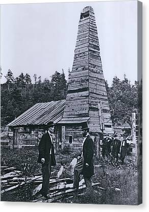Fuel Canvas Print - The Original 1859 Drake Oil Well by Everett