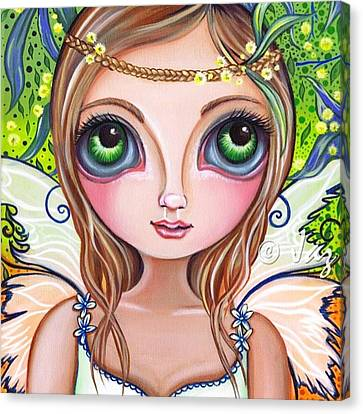 Fantasy Canvas Print - The Original wattle Fairy Painting by Jaz Higgins