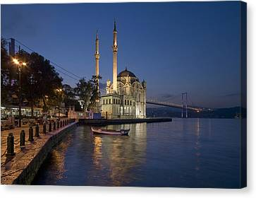The Ortakoy Mosque And Bosphorus Bridge At Dusk Canvas Print