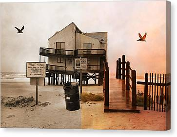 The Osprey And The Pelican Canvas Print by Betsy Knapp
