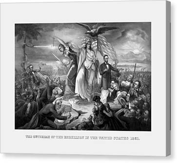 The Outbreak Of The Rebellion In The United States Canvas Print by War Is Hell Store