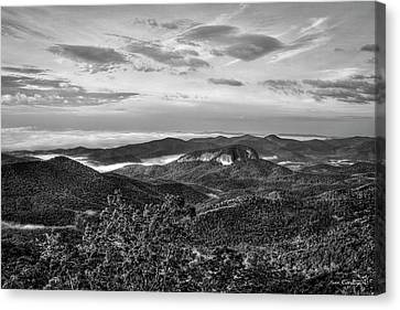 The Outcrop Looking Glass Rock Sunrise Bw Blue Ridge Parkway Art Canvas Print