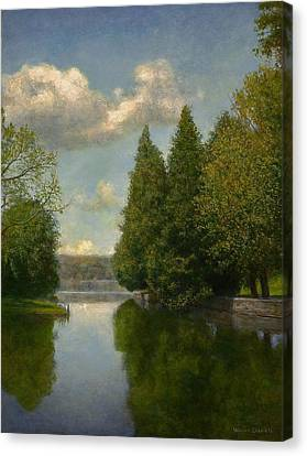 Canvas Print featuring the painting The Outlet by Wayne Daniels