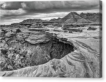 The Overhang - Black And White - Toadstool Geologic Park Canvas Print by Nikolyn McDonald
