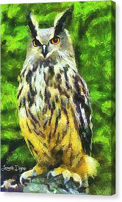 The Owl - Da Canvas Print by Leonardo Digenio