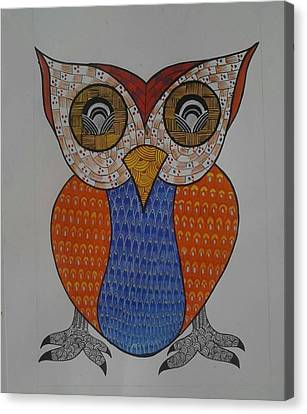 Gond Canvas Print - The Owl by Rajender Uike