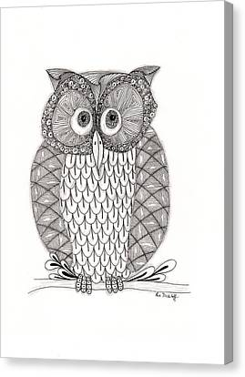Pen And Ink Drawings Canvas Print - The Owl's Who by Paula Dickerhoff