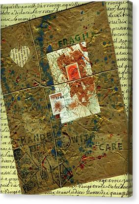 Canvas Print featuring the mixed media The Package by P J Lewis