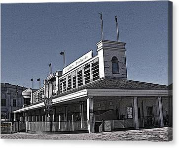 The Paddock At Churchill Downs In Black And White - With Poster Edges Canvas Print by Marian Bell