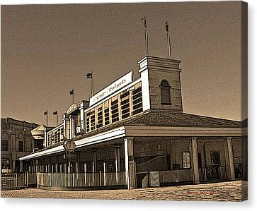 The Paddock At Churchill Downs In Sepia Tones - With Poster Edges Canvas Print by Marian Bell
