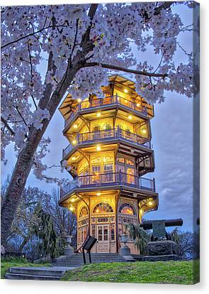 Canvas Print featuring the photograph The Pagoda In Spring At Blue Hour by Mark Dodd