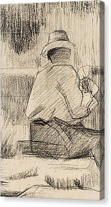The Painter And His Palette Canvas Print by Georges Pierre Seurat