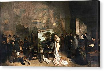 The Painter's Atelier Canvas Print by Gustave Courbet
