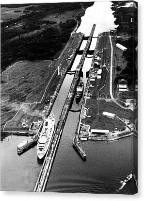 The Panama Canal, A Cruise Ship Moves Canvas Print