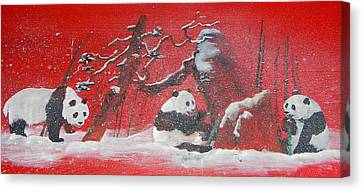 Canvas Print featuring the painting The Pandas Come On Red by Debbi Saccomanno Chan