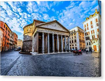 Canvas Print featuring the painting The Pantheon Rome by David Dehner
