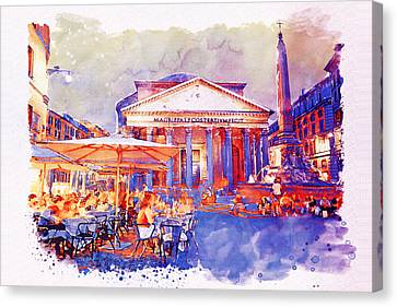 The Pantheon Rome Watercolor Streetscape Canvas Print by Marian Voicu
