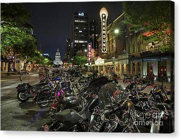 The Paramount And State Theatre Neon Signs Illuminate The Motorc Canvas Print