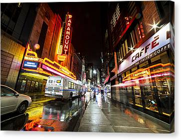 The Paramount On A Rainy Night Boston Ma Bus Canvas Print by Toby McGuire