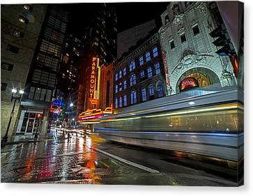 The Paramount On A Rainy Night Boston Ma Reflection Bus Canvas Print by Toby McGuire