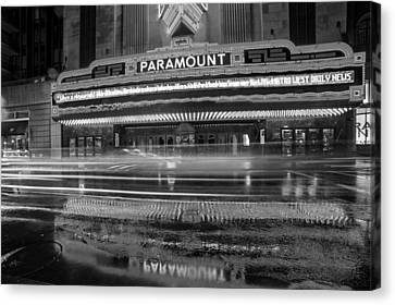 The Paramount On A Rainy Night Boston Ma Reflection Car Trails Black And White Canvas Print by Toby McGuire