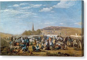 The Pardon Of Sainte Anne La Palud Canvas Print by Eugene Louis Boudin