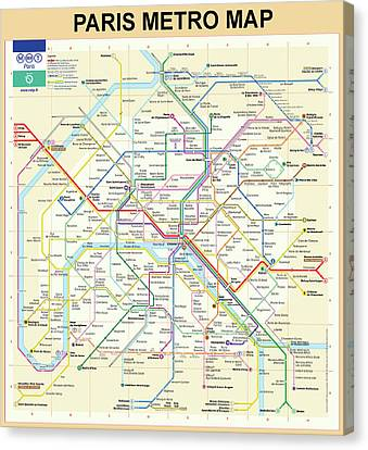 The Paris Metro Map  Canvas Print