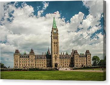 Ottawa Skyline Canvas Print - The Parliament Building In Ottawa Canada by Randall Nyhof