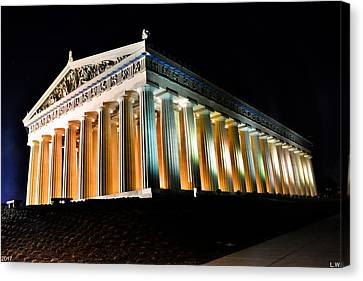 The Parthenon In Nashville Tennessee At Night 2 Canvas Print by Lisa Wooten