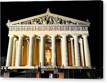 The Parthenon In Nashville Tennessee At Night  3 Canvas Print by Lisa Wooten