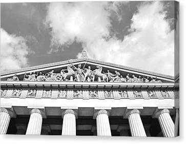 The Parthenon In Nashville Tennessee Black And White 2 Canvas Print by Lisa Wooten