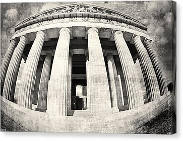 The Parthenon In Nashville Tennessee Black And White 3 Canvas Print by Lisa Wooten