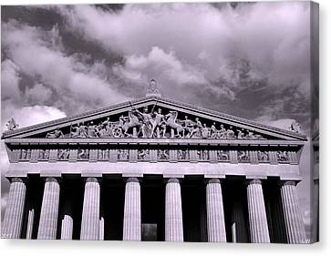 Brown Canvas Print - The Parthenon In Nashville Tennessee Black And White by Lisa Wooten