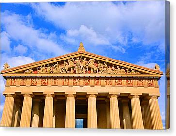 The Parthenon In Nashville Tennessee  Canvas Print by Lisa Wooten
