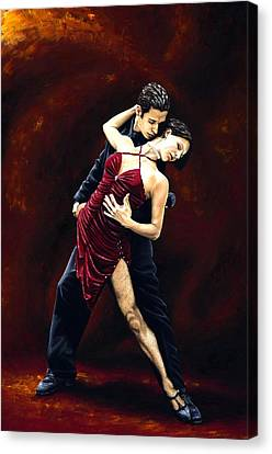 Red Dress Canvas Print - The Passion Of Tango by Richard Young